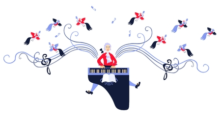 symphonic: Mozart winged with music. Cute cartoon vector illustration.