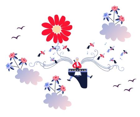 pianista: Mozart solar. Cuento de hadas. Ilustración del vector en tonos azules, rojos y blancos.