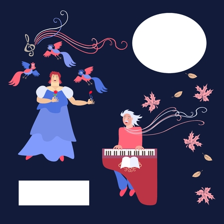 duet: Duet. The singer and accompanist. Space for text. Cute cartoon vector illustration.