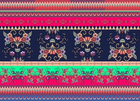ethno: Festive striped ornamental background. Floral seamless ethnic pattern. Print for fabric. Vector illustration. Illustration