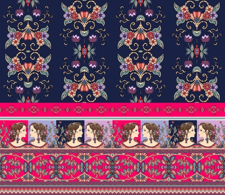 Beautiful floral background with unusual border. Portraits of girls, flowers, birds, geometric ornament. Can be used for paper, wallpaper, wrapping, chocolate packaging.