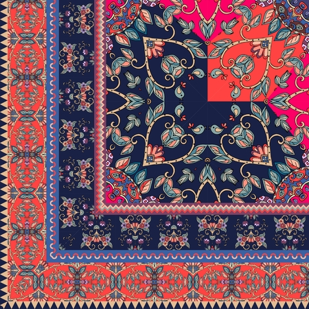 Quarter of the ethnic bandana print with ornamental border. Silk neck scarf with beautiful flowers and leaves. Rug. Vector illustration.