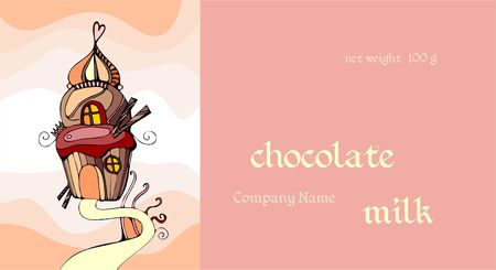 Vector template with cute cupcake. Chocolate packaging design.