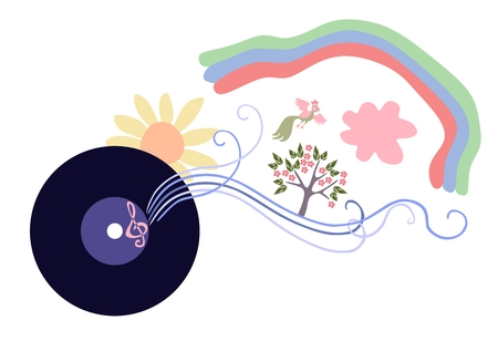 abstract rainbow: The music is a whole world. Cute cartoon vector illustration. Illustration