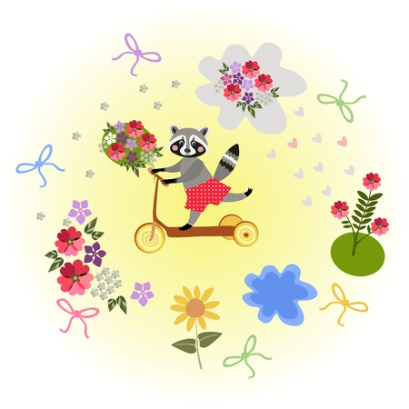 yellow adventure: Cute cartoon raccoon riding by homemade scooter with bouquet  as a gift. Greeting card.