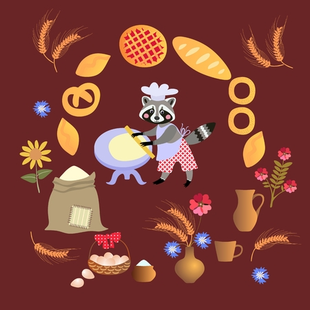 dough: Cute cartoon raccoon baker with dough and rolling pin. Card, poster.  Frame made of wheat, sunflowers, bouquet of cornflowers, muffins, pies, cakes. Illustration