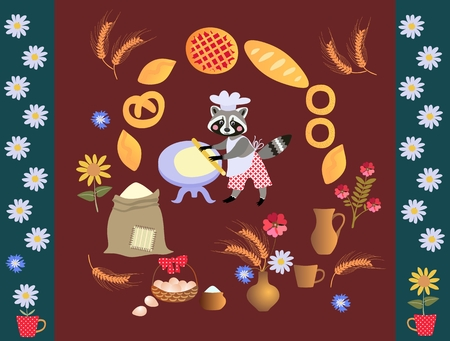 rolling bag: Cute cartoon raccoon baker with dough and rolling pin. Card, poster. Frame made of wheat, sunflowers, bouquet of cornflowers, muffins, pies, cakes, daisies.