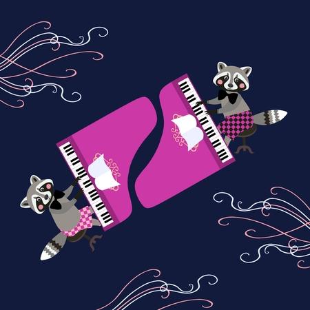 baby grand: Cute cartoon raccoons - musicians. Beautiful card with cartoon animal characters playing grand piano. Vector illustration.