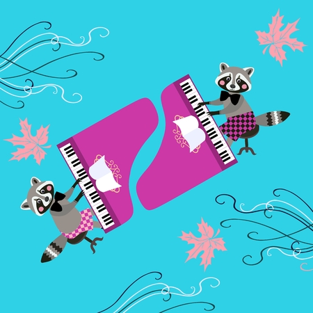 baby grand: Cute raccoons - musicians. Beautiful card with cartoon animal characters playing grand piano and maple leaves.