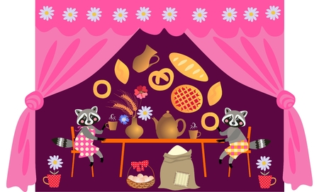 teatime: Family dinner. Beautiful vector card with cartoon animal characters. Tea party with cute raccoons. Teatime.