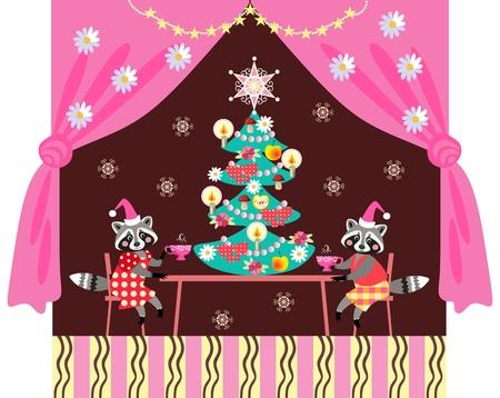 dcor: Merry Christmas! Cute raccoons drinking tea. Greeting card.