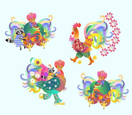 shah: Festive vector set of cute roosters and raccoons, Chinese new year. Teatime.