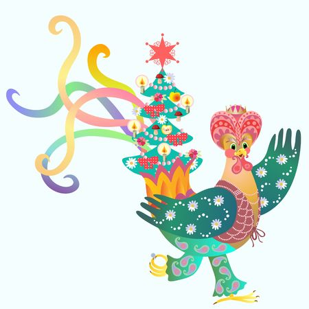 magus: Magus - rooster and Christmas tree. Fairy tale. Illustration