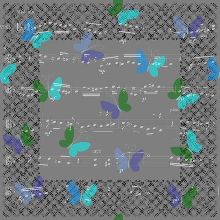 Musical bandana print with butterflies. Kerchief seamless pattern design for print on fabric. JPEG illustration.