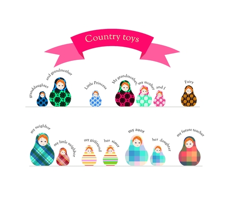 Country toys. Cute collection of russian dolls - matrioshka. Childish illustration.