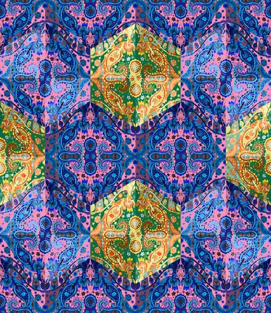 patchwork pattern: Colorful seamless patchwork pattern with ethnic ornaments. Stock Photo