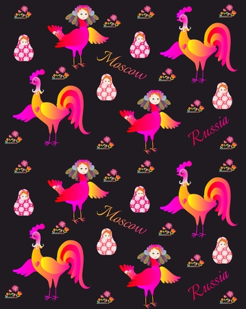 russian pattern: Russian pattern with magic bird Sirin, flowers, rooster and matryoshka.