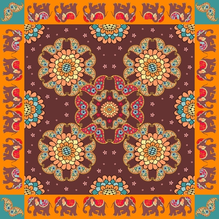 India. Ethnic bandana print with ornament border. Silk neck scarf with beautiful flowers, paisley and elephants. Summer kerchief square pattern design style for print on fabric.