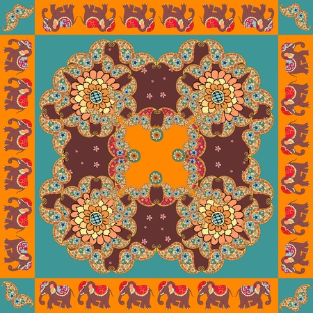 hanky: India. Ethnic bandana print with ornament border. Silk neck scarf with beautiful flowers, paisley and elephants. Summer kerchief square pattern design style for print on fabric.