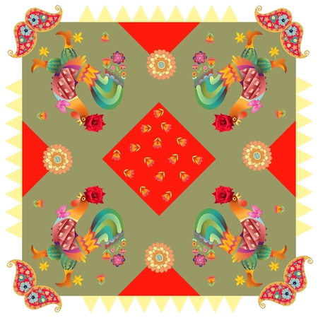 hanky: Year of the Rooster. Beautiful bandana print with fantasy roosters, paisley and flowers on geometrical background. Silk neck scarf or kerchief square pattern design style for print.