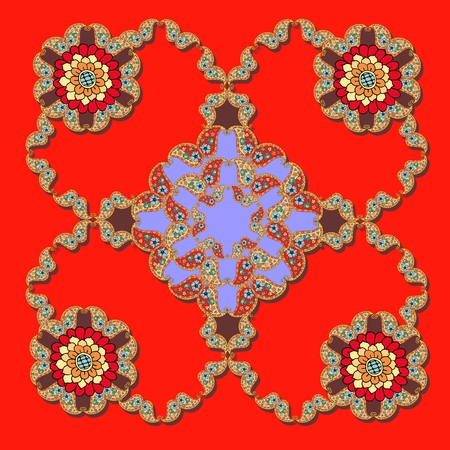 voile: Bandana print, panel or tablecloth with beautiful paisley ornament on bright red background. Silk neck scarf or kerchief square pattern design style for print. Stock Photo