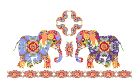 Indian decorative pattern with elephants and paisley. JPG illustration. Imagens