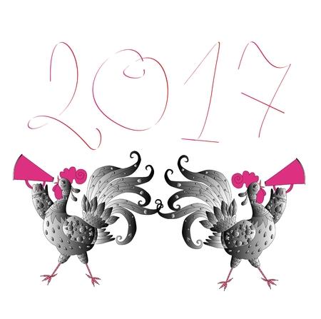 2,017년의 중국 상징 - 귀여운 만화 닭 인사말 카드 새해 복 많이 받으세요.
