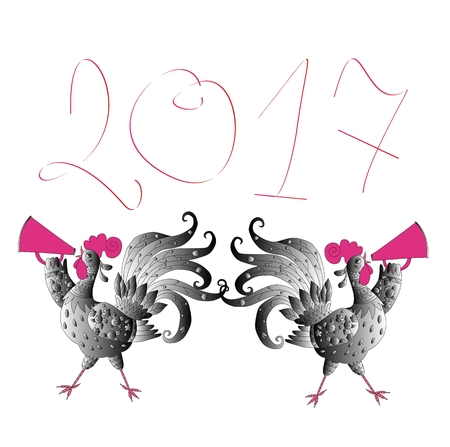 Greeting card Happy New Year with cute cartoon roosters - Chinese symbol of 2017 year.