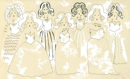 soprano: Female vocal ensemble. Cute cartoon poster.