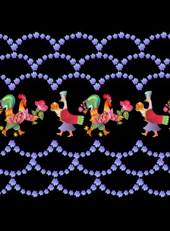 Border with beautiful flowers, fairy ducks and cocks. Year of the rooster. 2017. Cute cartoon birds.
