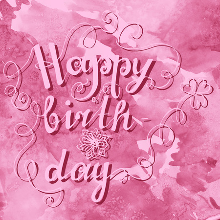 Happy birthday hand lettering on watercolor background with stock 66074818 card with lettering happy birthday on watercolor background m4hsunfo