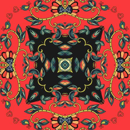 ceramic tile: Ceramic tile. Decorative floral ornament. Can be used for frames, cards, bandana prints, kerchief design, tablecloths and napkins. Vector illustration.