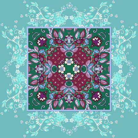 Decorative floral ornament. Can be used for cards, bandana prints, kerchief design, tablecloths and napkins