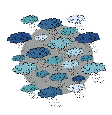 Cute cartoon pattern with clouds and rain. Print for fabric. Stock Photo