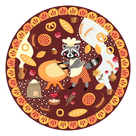 Cute round card with raccoon baker and bakery products. Vector illustration.
