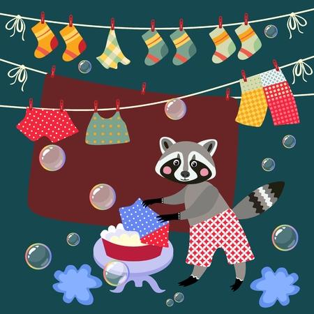 lavamanos: Cute raccoon washes clothes. Vector illustration. Vectores