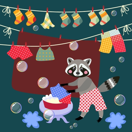 Cute raccoon washes clothes. Vector illustration. Illustration