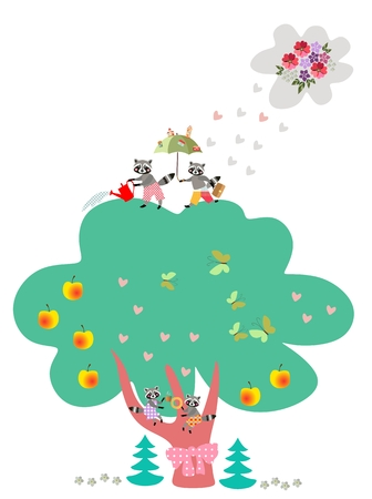 pine apple: Visual educational game for children. What is wrong? Vector illustration with lovely raccoons. Entertainment.