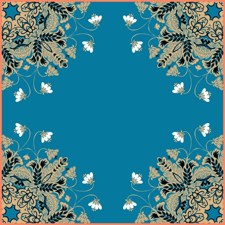 napkins: Floral frame. Kerchief design. Can be used for cards, bandana prints, tablecloths and napkins. Vector image.