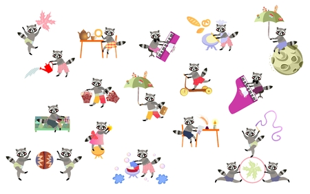 baby grand: Vector set of cute cartoon raccoons isolated. Print for t-shirt. Illustration
