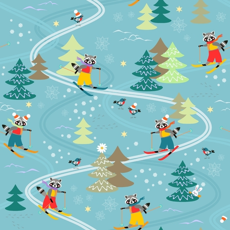 raccoons: Cute funny raccoons on skiing. Winter seamless pattern. Illustration