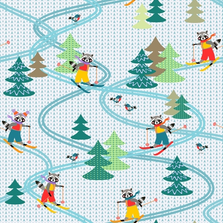 Cute funny raccoons on skiing. Winter seamless pattern. Stylized knitted fabric. Christmas background. Vektorové ilustrace