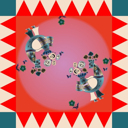 Lovely tablecloth. Bright  square pattern with fantasy birds. Bandana print, shawl, silk neck scarf or kerchief design style for print.