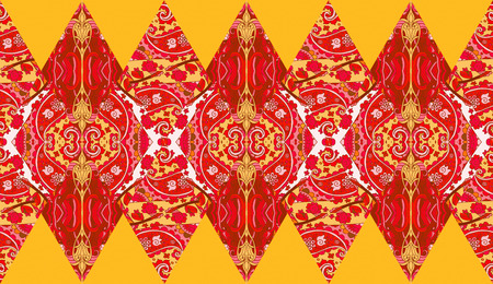 Ethnic patchwork pattern from ornamental rhombuses with flowers and paisley in red and yellow tones.