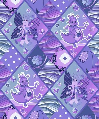 bedding: Cute childish seamless patchwork pattern with fairy dragons, butterflies, flowers, waves. Quilt. Can be used for interior design, curtains, draperies, upholstery, bedding, duvet cover, pillow case.