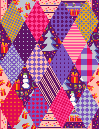 Colorful seamless patchwork pattern for Christmas. Stock Photo