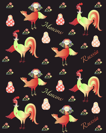 russian pattern: Russian pattern for fabric with magic bird Sirin, flowers, rooster and matryoshka. Year of the rooster. 2017.