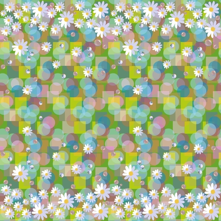 border patrol: Seamless vector pattern with daisies and dewdrops on abstract background. Beautiful floral border.