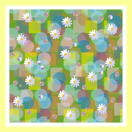 dewdrops: Kerchief square design. Bandana print with daisies and dewdrops. Beautiful vector card.