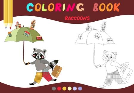 Libro De Colorear. Mapache Linda Con La Manzana. Ilustración ...